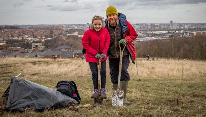 Volunteers planting trees in Leeds
