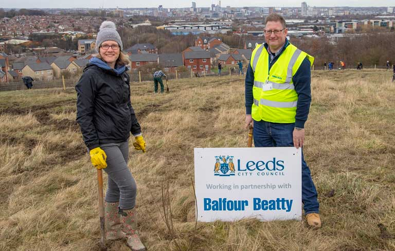 Tree planting in Leeds with business supporters